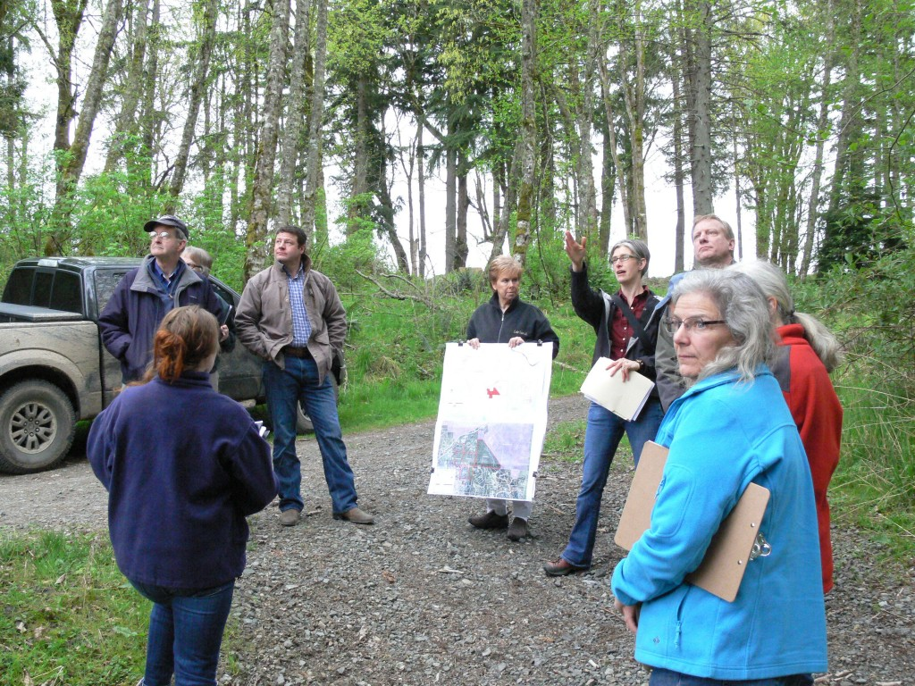 Members of the King County Conservation Futures Citizen's Committee are briefed on the property and proposed logging area